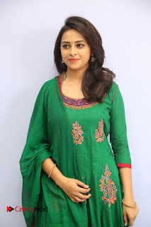 Actress Sri Divya Pictures in Green Salwar Kameez at Rayudu Team Meet  0001.JPG