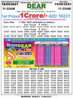 Nagaland Lottery Result Today 15.06.2021 on Morning 11:55Am