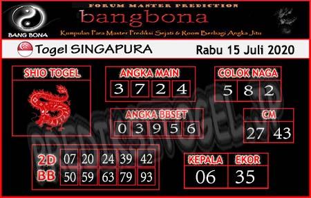 Prediksi Bangbona Singapura Rabu 15 Juli 2020