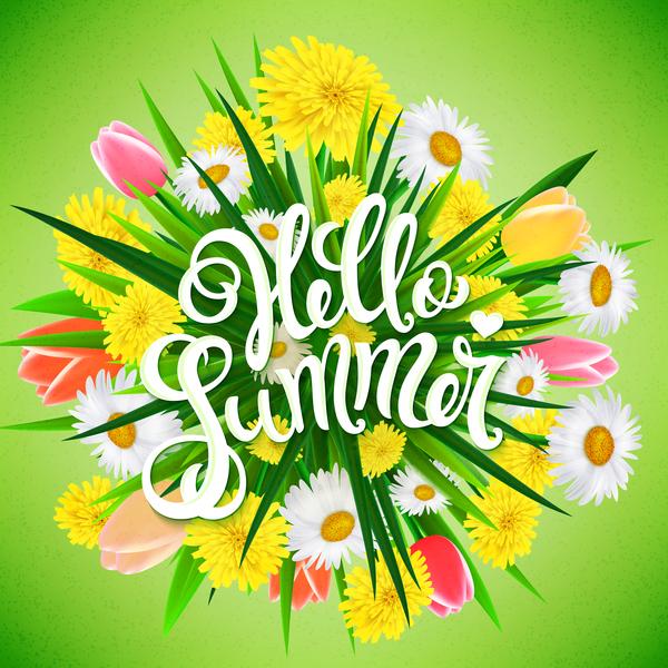 Summer flower illustration vector download free vector