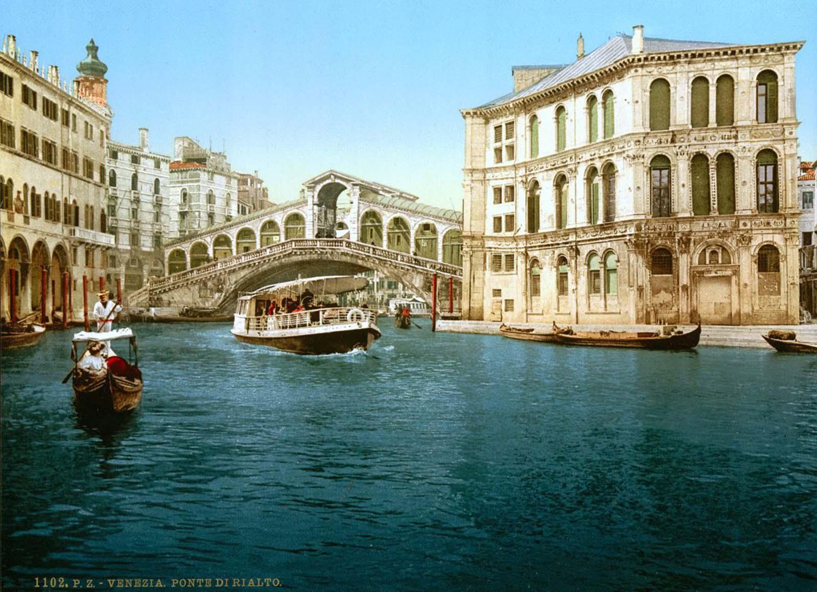 The Grand Canal and the Rialto Bridge.