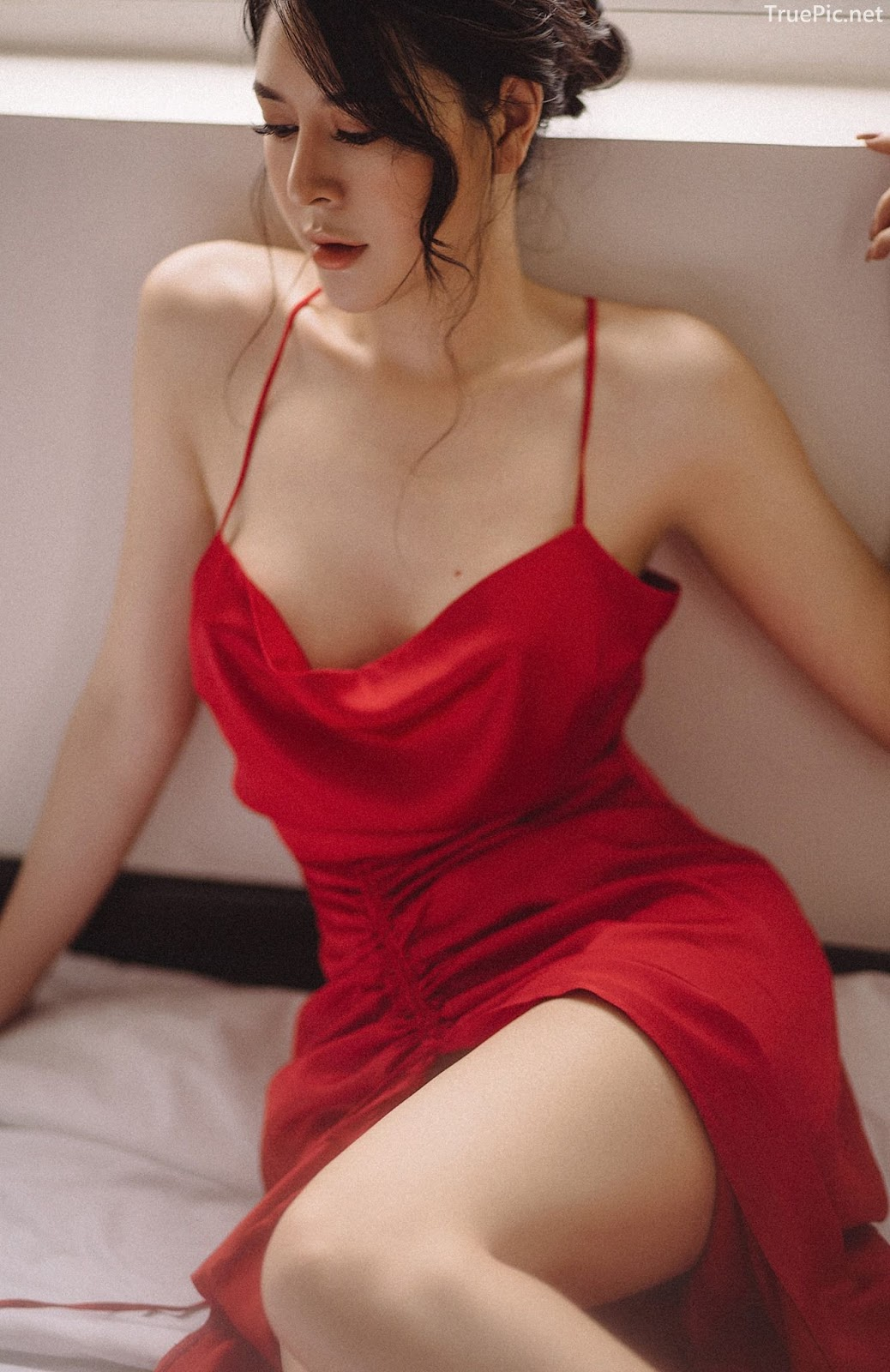Vietnamese hot model - The beauty of Women with Red Camisole Dress - Photo by Linh Phan - Picture 6