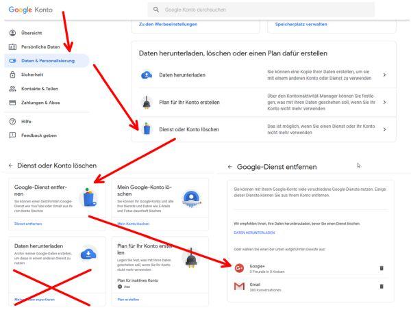 Google + vom Goolge-Konto entfernen