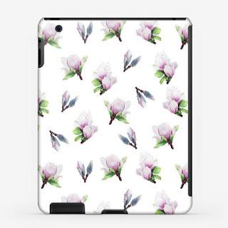 Chehol dlya i-pad s printom magnoliya na belom  | Inna Yakuskeva's blog
