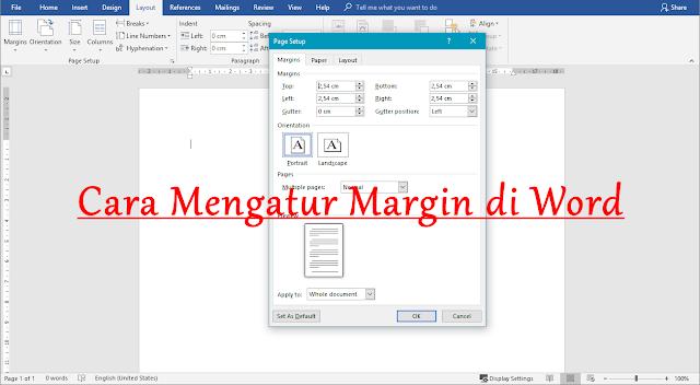 cara mengatur margin di microsoft word
