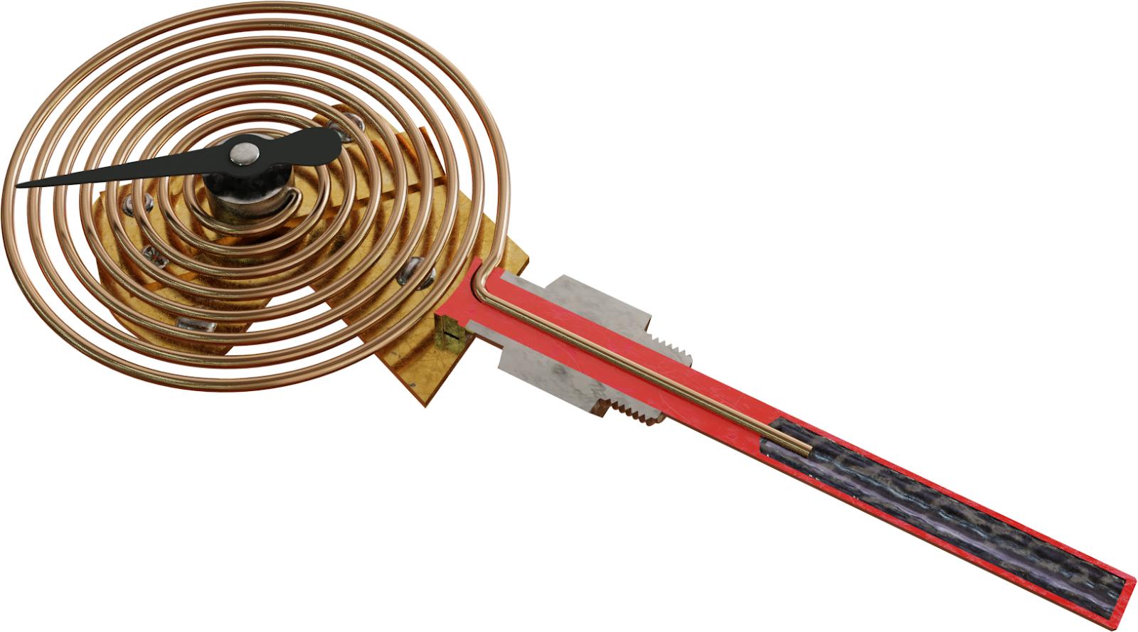 Potong termometer berisi cairan (termometer cair-dalam-logam)