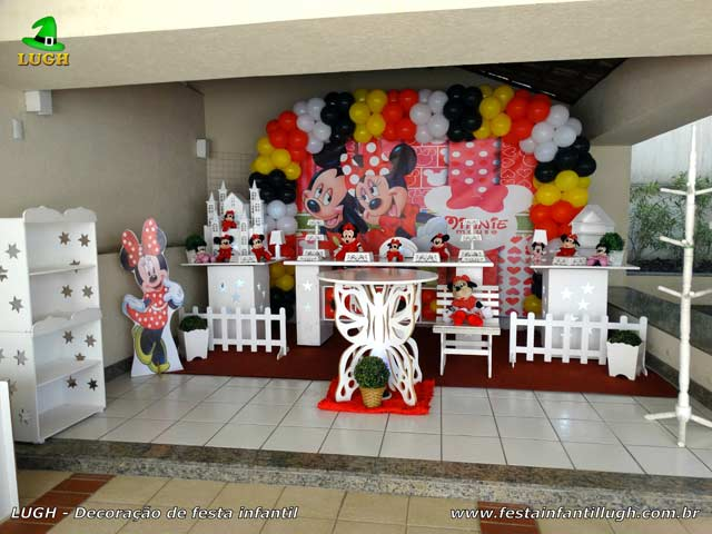 Decoração mesa de aniversário infantil de 1 ano Minnie vermelha