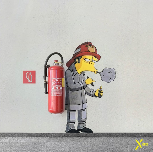 EFIX cartoon character street art - Smoking