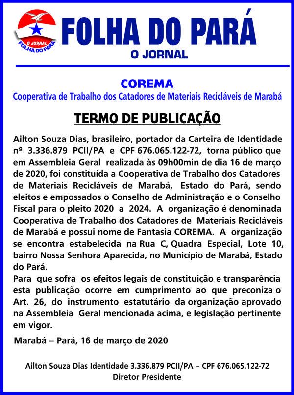 TERMO DE PUBLICAÇÃO -- COREMA - COOPERATIVA DE TRABALHO DOS CATADORES DE MAT. RECICLAVEIS DE MARABÁ
