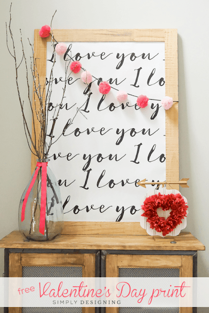 Easy Valentine decor - I love you Valentine's Day Printable art.