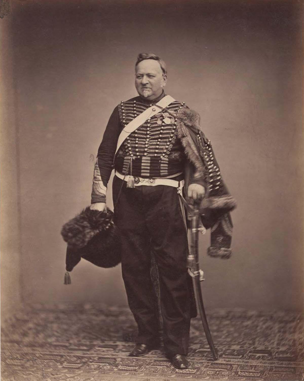 El intendente sargento Delignon con el uniforme de un Chasseur de la Guardia Montado.