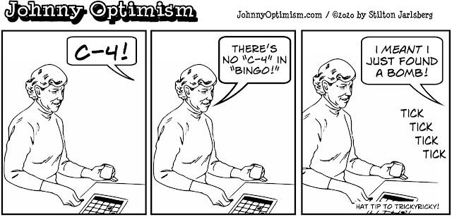 johnny optimism, medical, humor, sick, jokes, boy, wheelchair, doctors, hospital, stilton jarlsberg, bingo, bomb, C4, C-4, TrickyRicky