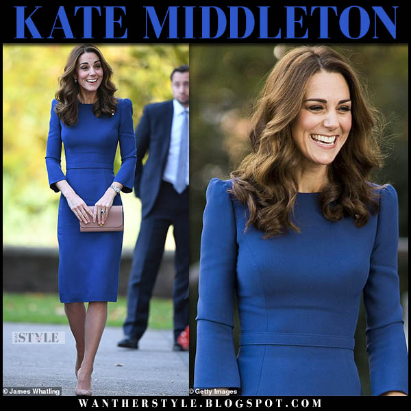 Kate Middleton in blue pencil jenny packham dress and suede gianvito rossi pumps royal family style october 31