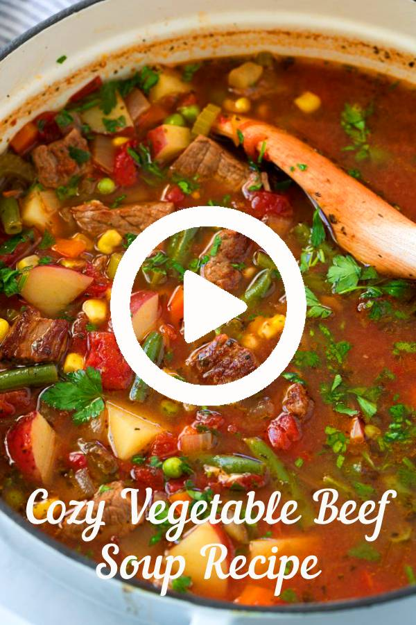 The ultimate VEGETABLE BEEF SOUP! It's jam packed with veggies and it's the most comforting cozy soup to warm up with this winter. #beef #soup #vegetable #comfortfood