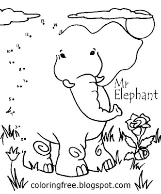 Things to do for kids simple coloring activities circus expedition Mr elephant Dot to dot printables