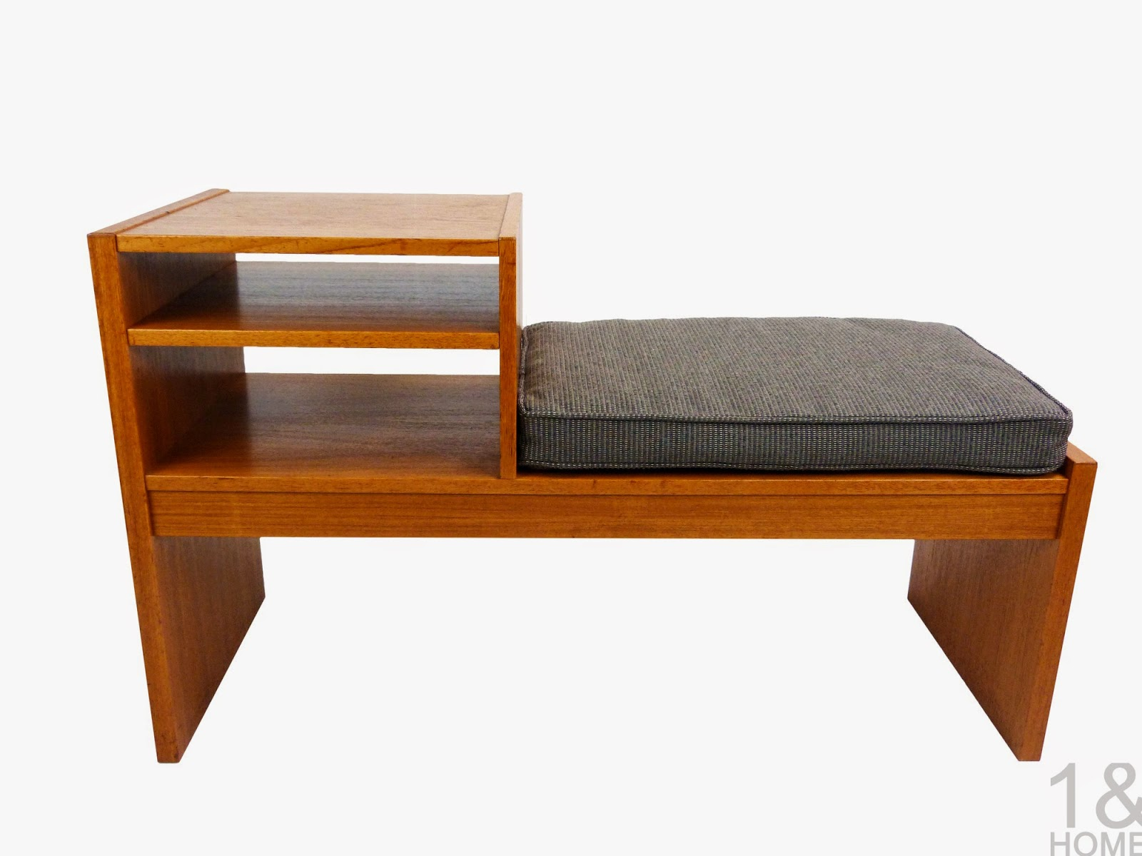 Danish modern teak telephone bench with and adjustable shelf new