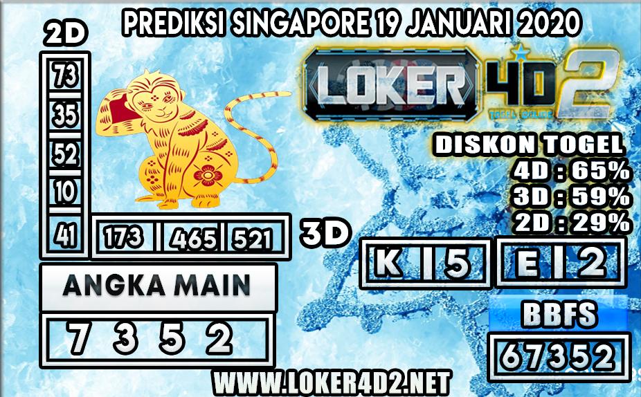 PREDIKSI TOGEL SINGAPORE LOKER4D2 19 JANUARI 2020