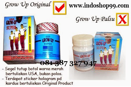 ciri grow up usa asli, ciri grow up usa original, ciri grow up usa palsu, obat peninggi badan, peninggi badan tercepat