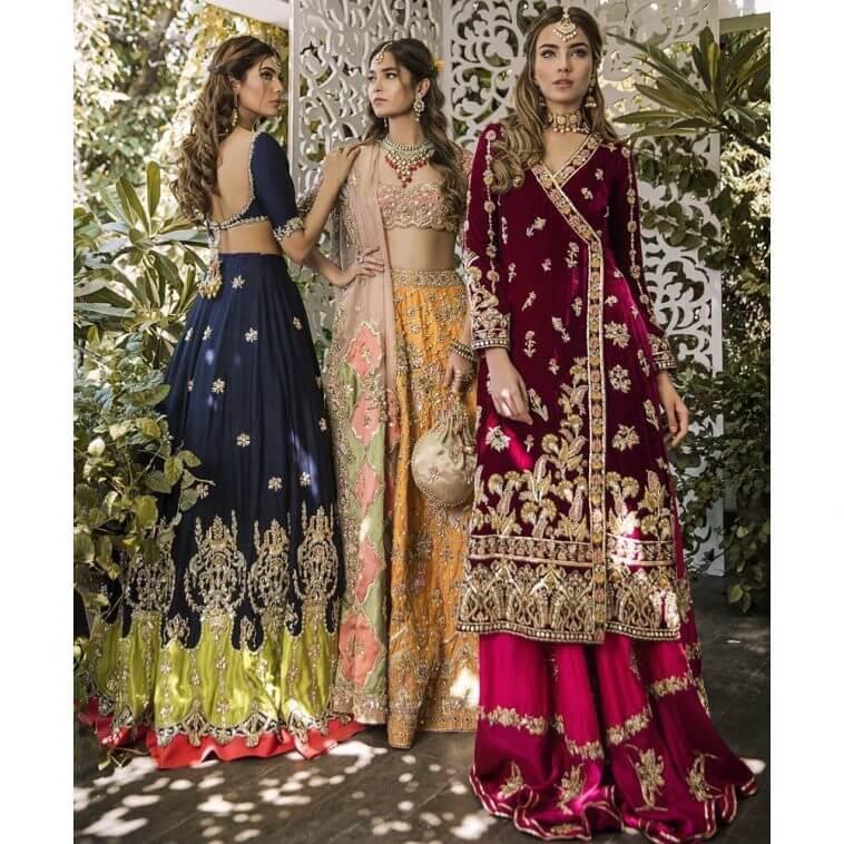 beautiful stylish Pakistani bridal Mehndi dresses from Sophia collection by Rema & Shehrbano