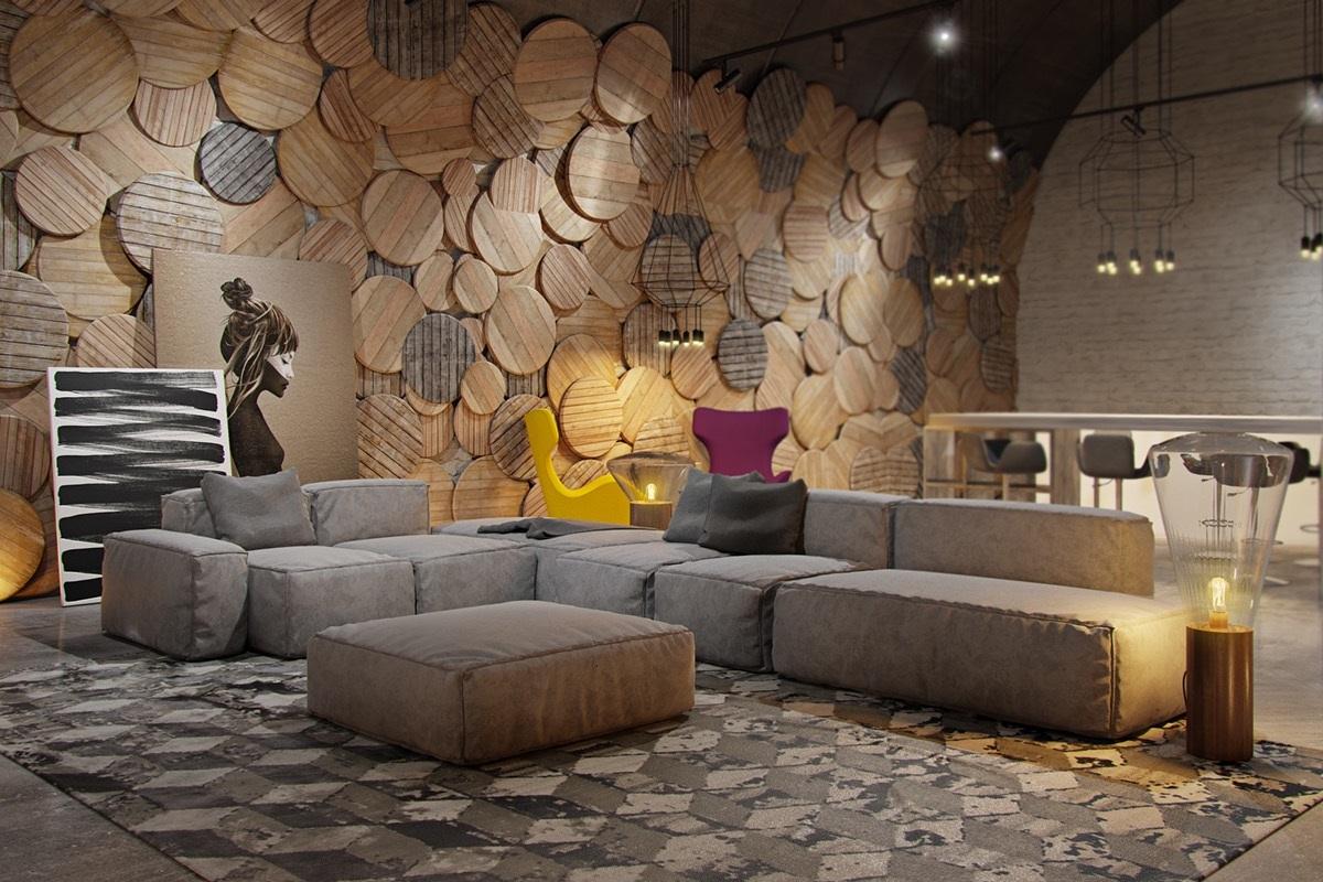 Foundation Dezin & Decor...: Living room with unique wall ...