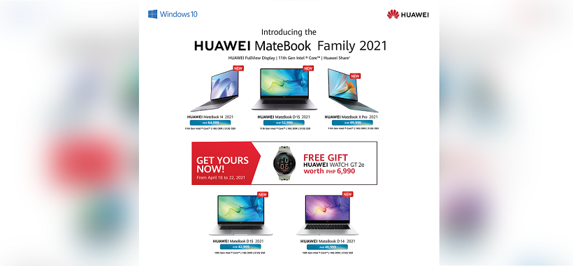 Pre-order MateBook 2021 Laptops with 16GB RAM and 11th Gen Processor and get free HUAWEI GT 2e
