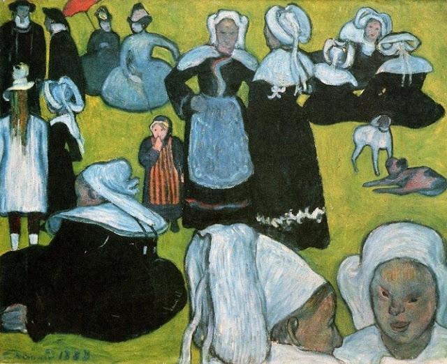 奥行きがない絵?クロワゾニスムを完成させた画家、ベルナール 「草地のブルターニュの女たち」