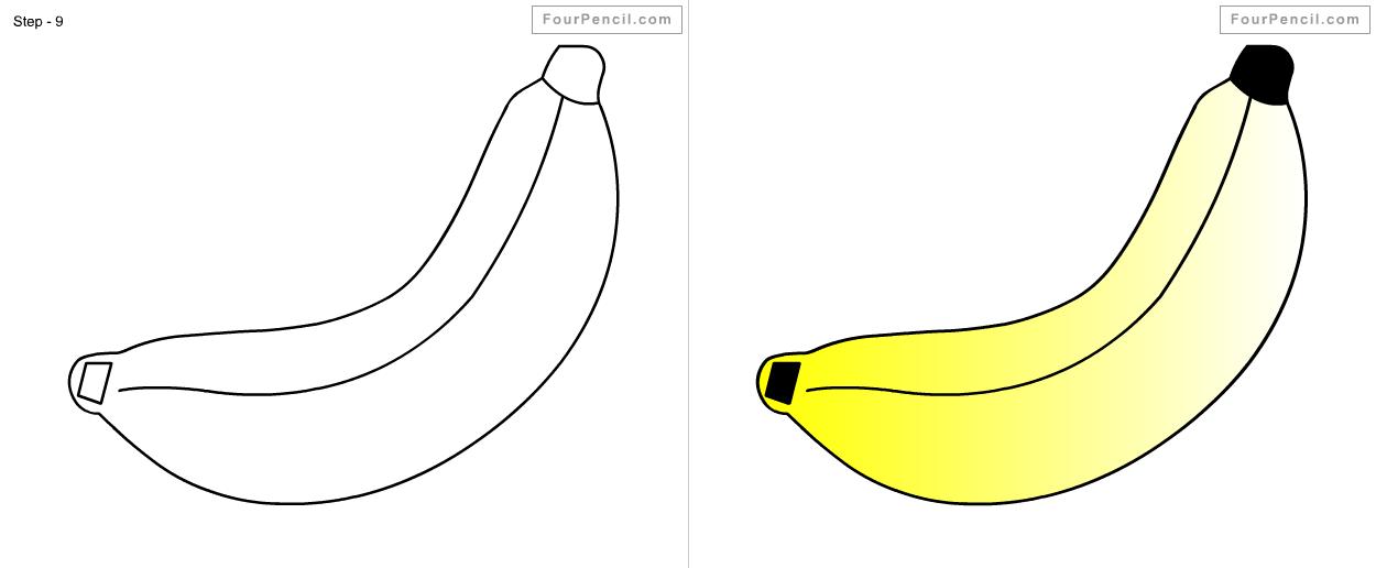 Картинки банана для срисовки, днем рождения