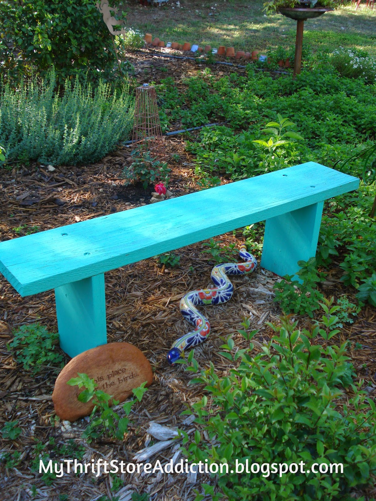 Upcycled yard sale garden bench