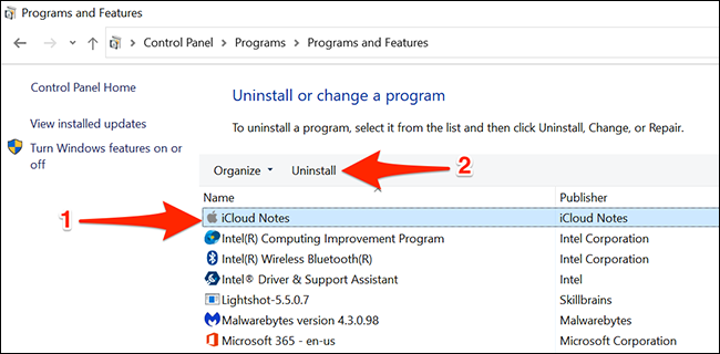 قم بإلغاء تثبيت تطبيق Notes على نظام التشغيل Windows 10