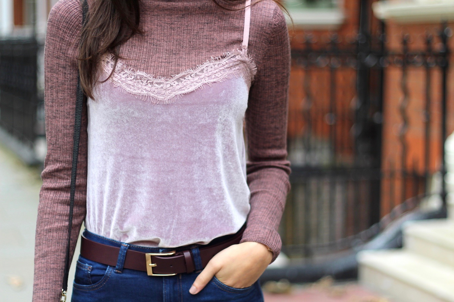 velvet cami and roll neck new look peexo