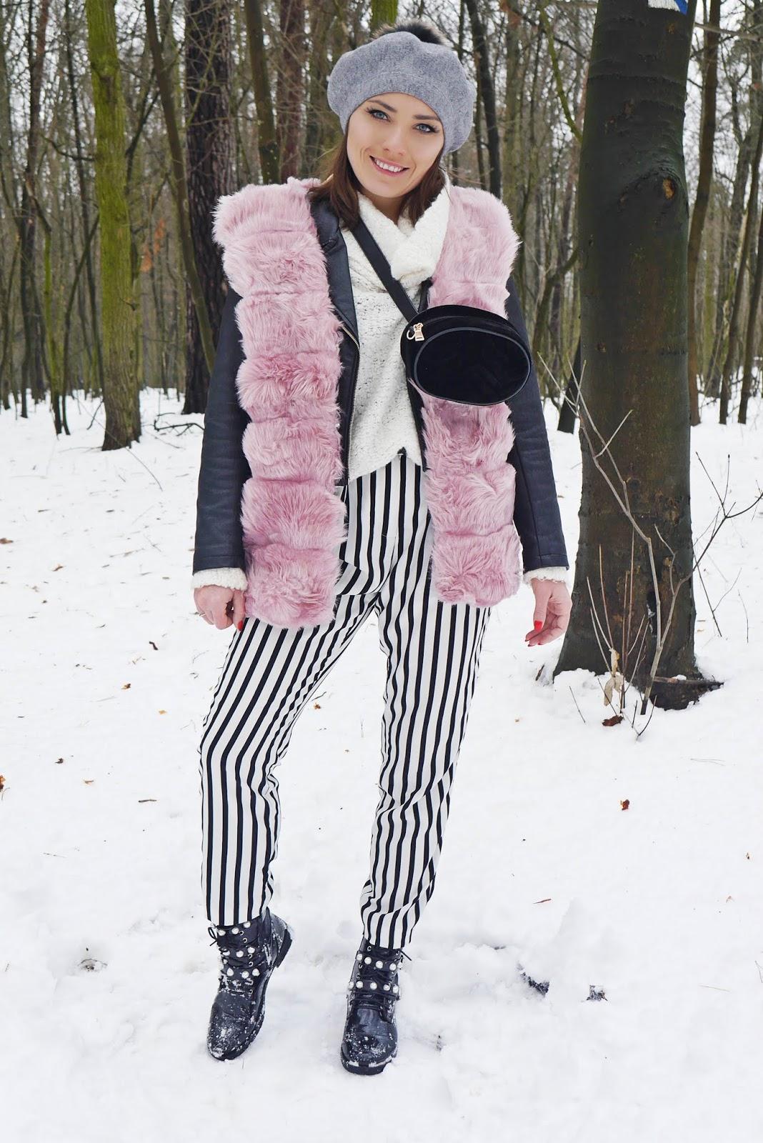 trapery z perełkami renee różowa kamizelka spodnie pasy karyn blog modowy