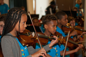 Children from In Harmony Lambeth playing at the South Bank Centre