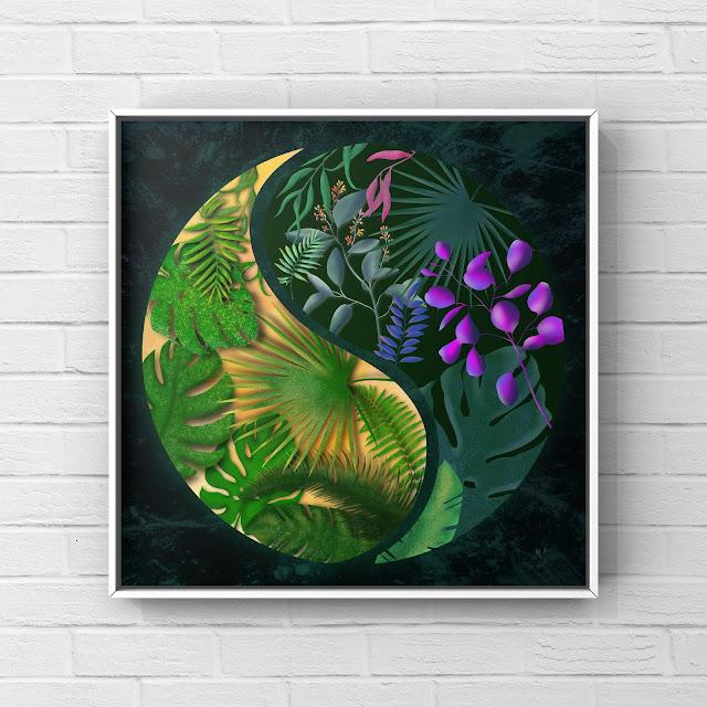 jungle print art yin and yang symbol