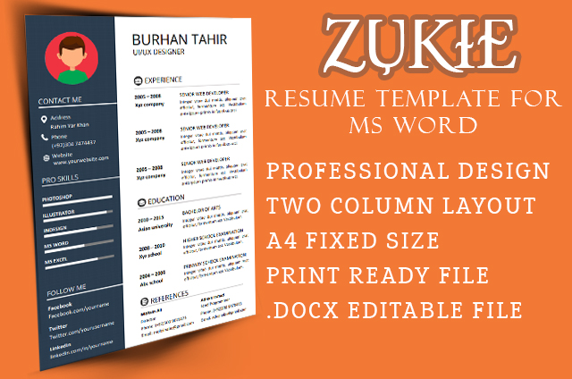 Zukie resume template for Microsoft word free download