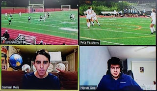 announcers, Sam Reis and Nipun Goel got to see our cameras and call the game from the warmth and comfort of home – thanks to Zoom
