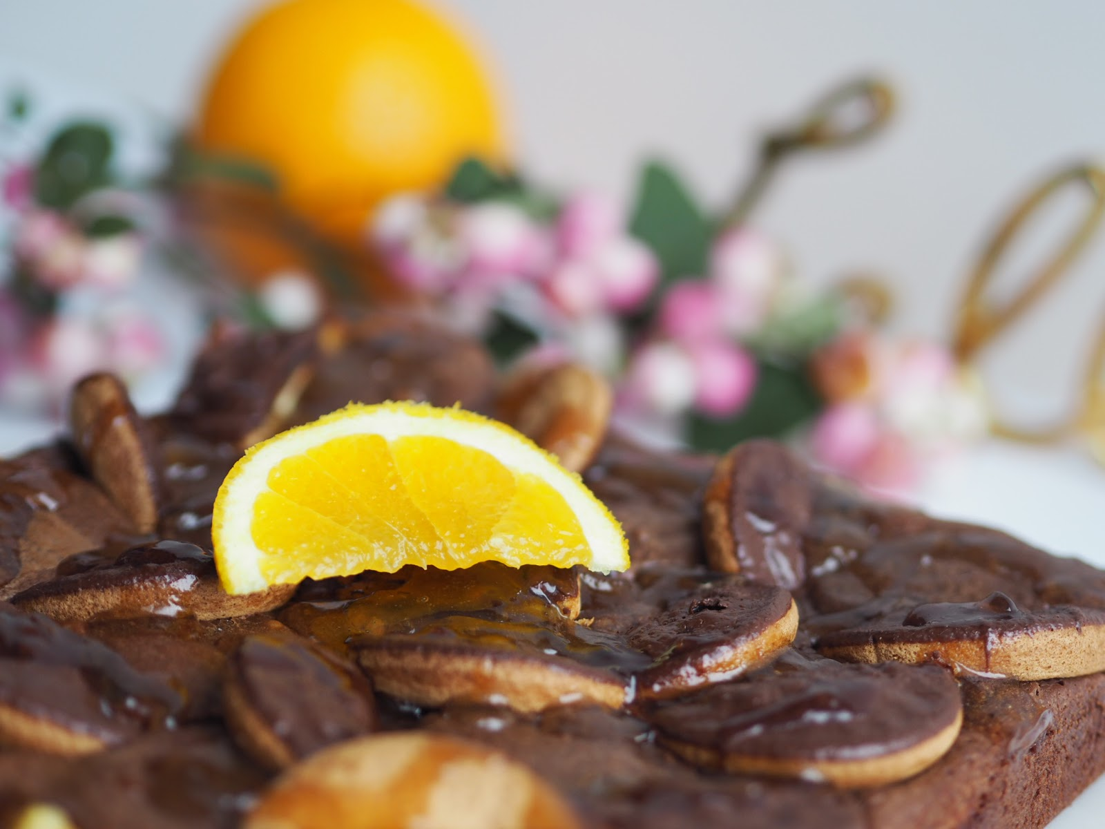 Recipe | Jaffa Cake Brownies Close Up with Orange Berries and Hello Letters