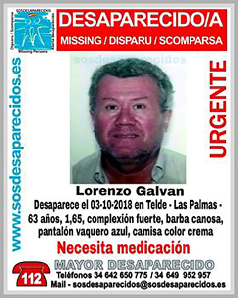 Lorenzo Galván, hombre desaparecido en Telde y que necesita de medicación