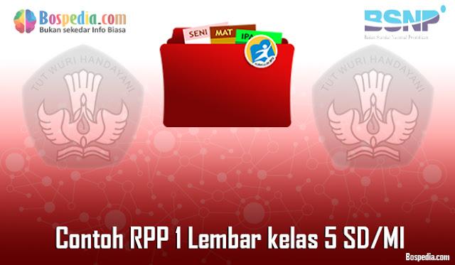 Contoh RPP 1 Lembar kelas 5 SD/MI Daring dan Luring Revisi 2020