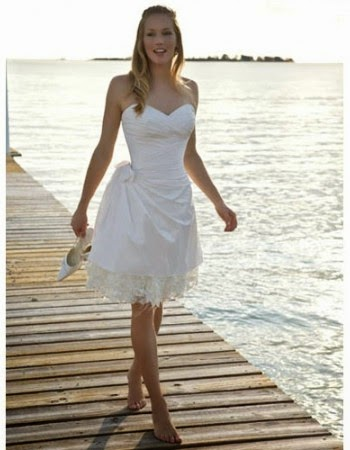 Inexpensive Casual Sweetheart Sleeveless Short Beach Wedding Dress