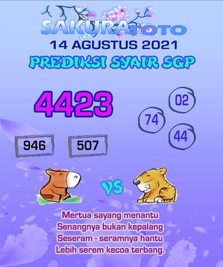 Syair SGP Sabtu 14 Agustus 2021