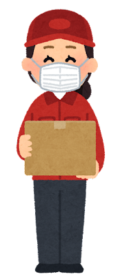 マスクを付けた配達員のイラスト(女性・赤)