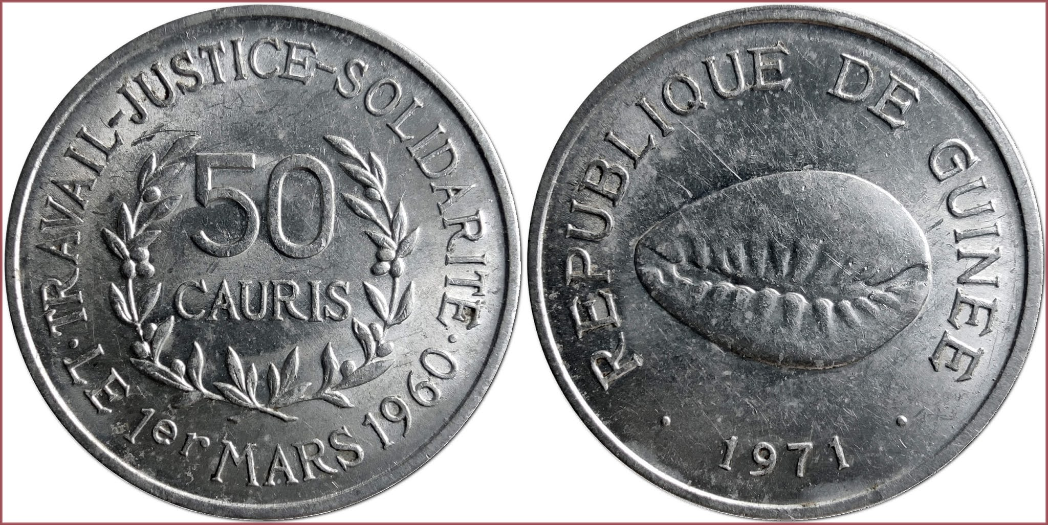 50 cauri, 1971: Republic of Guinea