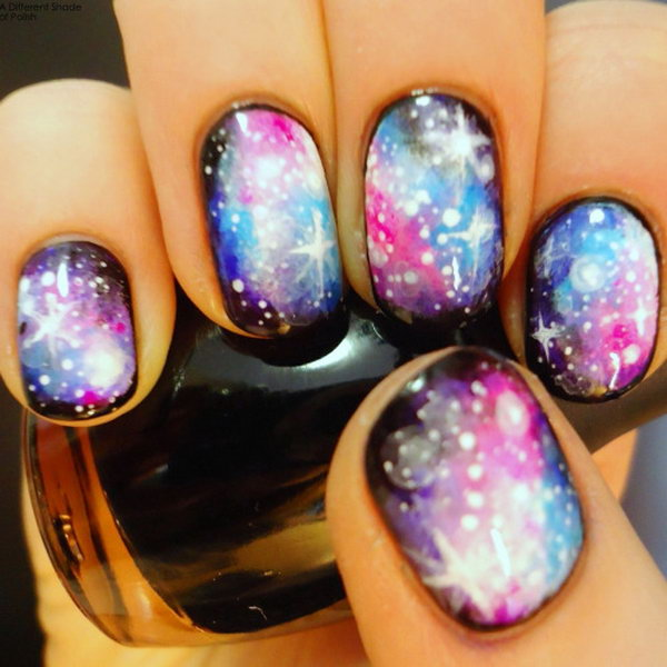 Galaxy Nails with Stars