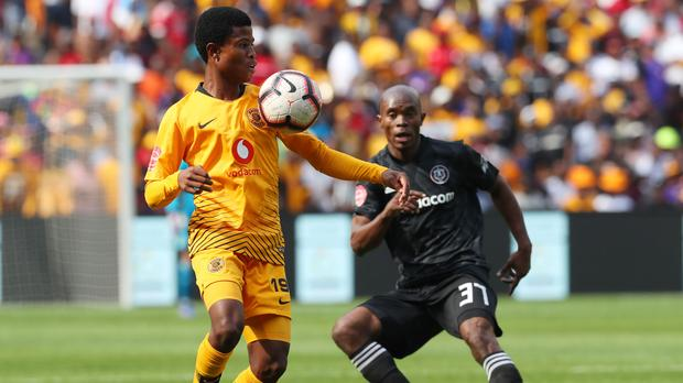 Happy Mashiane of Kaizer Chiefs and Mbekile of Orlando Pirates