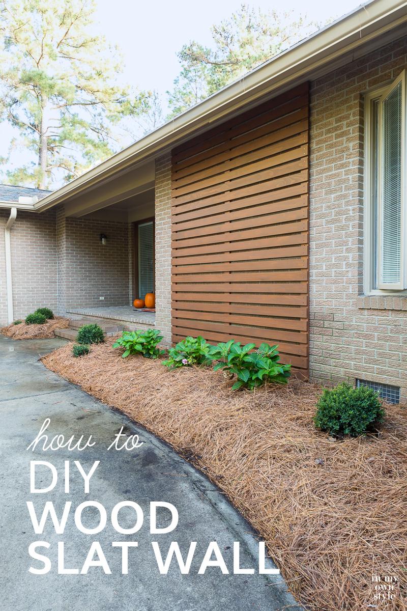 modern DIY outdoor wood slat wall