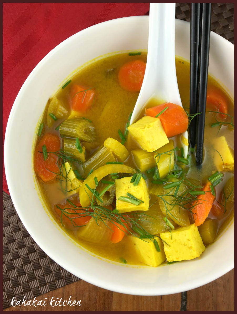 Tumeric Miso Soup with Tofu and Chunky Veggies for Souper ...