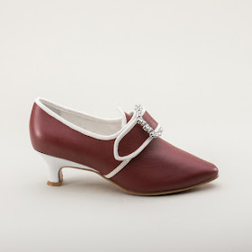 "American Duchess ""Dunmore"" 18th Century Shoes in red leather trimmed in white"