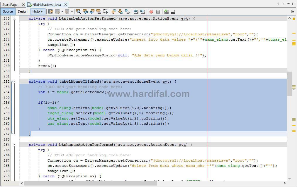 memberikan source code pada tabel