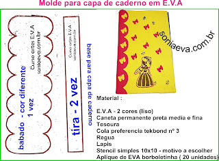 Molde capa de caderno em EVA
