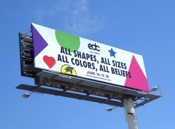 EDC Vegas all shapes sizes colors beliefs billboard